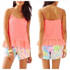 Lilly Pulitzer XS Coral Tank Top in Pink Sun Ray